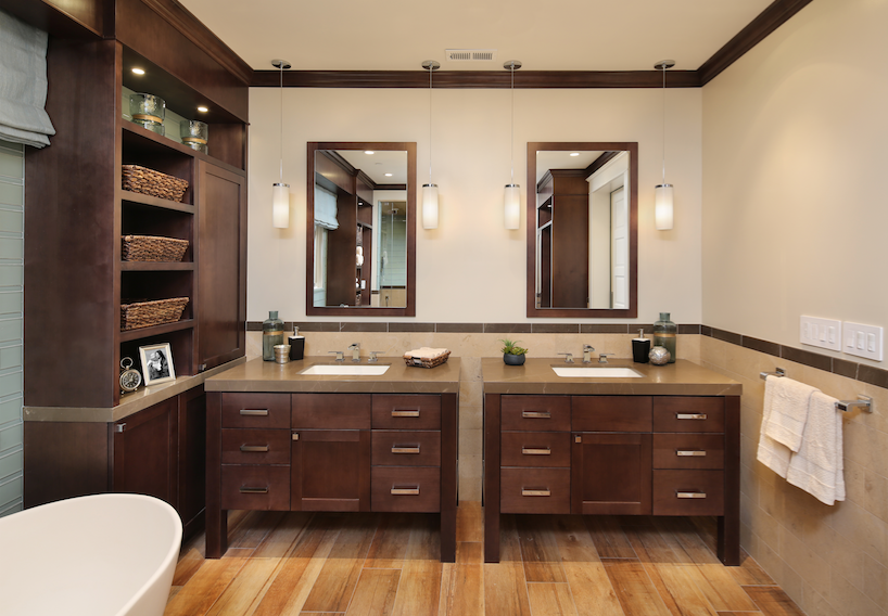 Linen storage cabinets and wood vanities